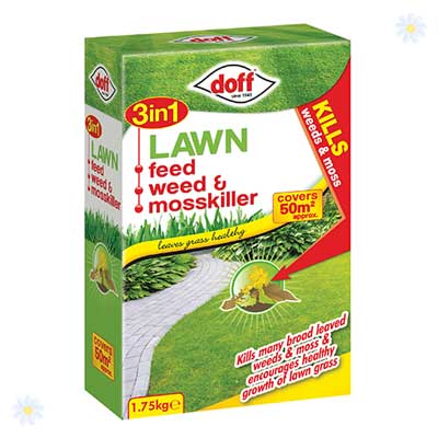 Image of 3 in 1 Lawn Feed, Weed & Mosskiller 1.75Kg 50m2 pack