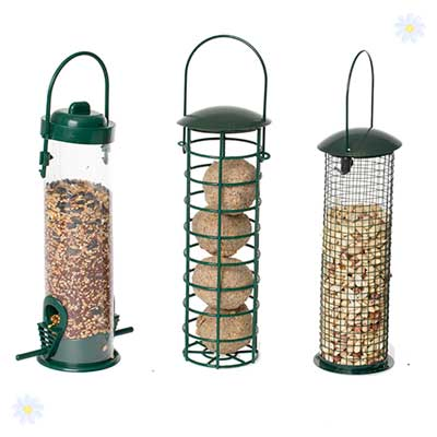 Image of Set of 3 Pre-filled bird feeders - seed, peanuts & fatballs